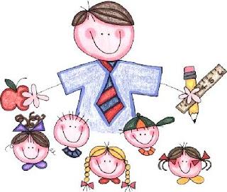 Dibujo de un maestro con sus alumnos a colores