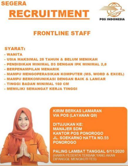 Lowongan Kerja POS Indonesia November 2020