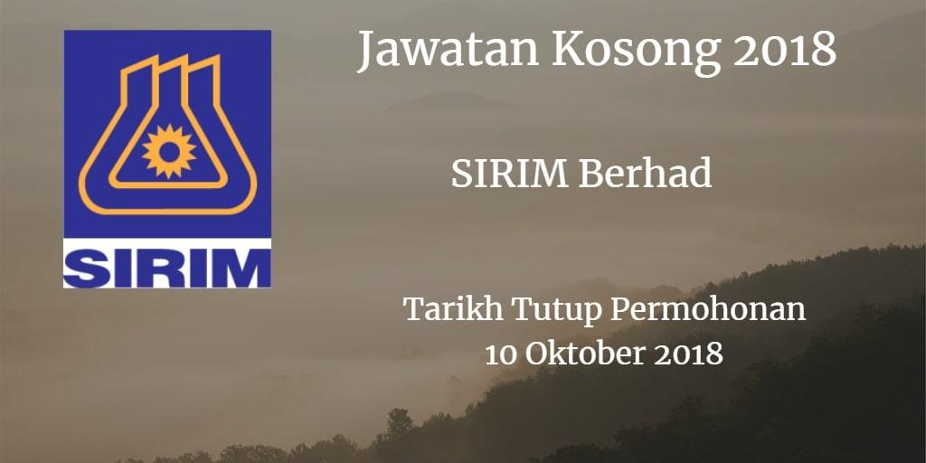 Jawatan Kosong SIRIM Berhad 10 Oktober 2018