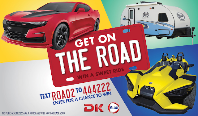 Enter once for the chance to win a Chevy Camaro, a camper, or a Slingshot to get you on the road for a road trip to remember! They will even provide the gasoline!