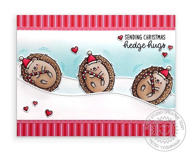Sunny Studio Blog: Handmade Hedgehog Holiday Christmas Card by Mendi Yoshikawa (using Hedgey Holiday Stamps, Woodland Border Dies & Holiday Cheer Paper)