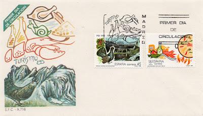 sobre, PDC, Turismo, filatelia, Parque Nacional, Covadonga, gastronomía, paella