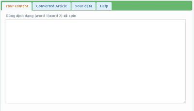 Website Spin Content free cho phép nhật data