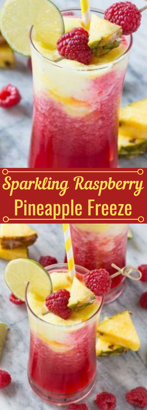 SPARKLING RASPBERRY PINEAPPLE FREEZE #raspberry #pineapple #drink #party #recipes