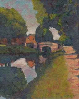 Plein air landscape alla prima painting of Dublin's Huband Bridge
