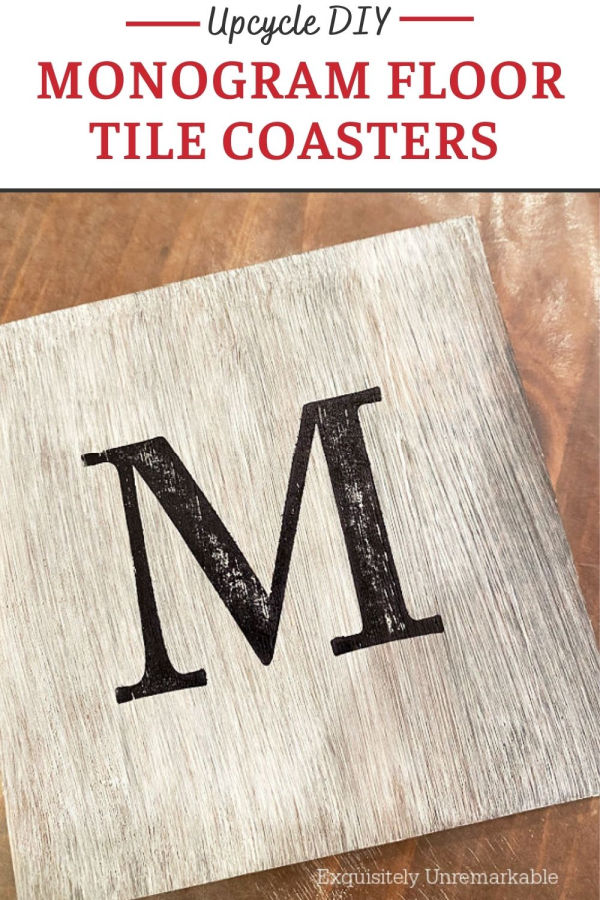 Monogram Floor Tile Coaster Upcycle