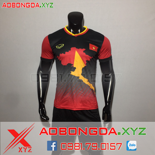 Áo Đội Tuyển Việt Nam 2020 Bản Đồ Màu Đỏ Đen