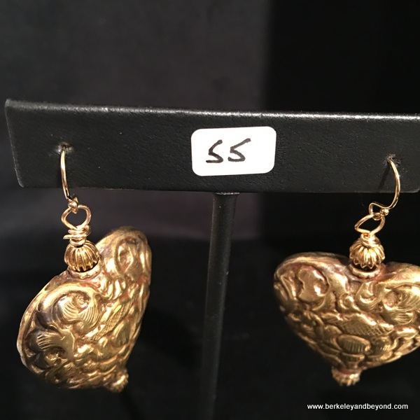 heart earrings for sale at Willits Center for the Arts in Willits, California