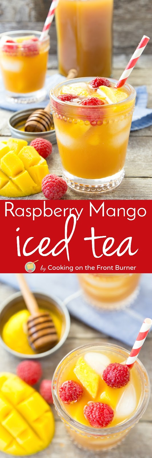 Easy raspberry mango iced tea cooking on the front burner for Easy fruit tea recipe