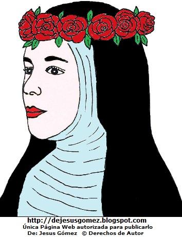 Dibujo de Santa Rosa de Lima con corona de rosas por Jesus Gómez