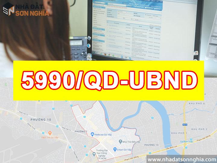 Quyết định số 5990/QĐ-UBND về dự án mở rộng, nâng cấp đường Dương Quảng Hàm Phường 5 Quận Gò Vấp
