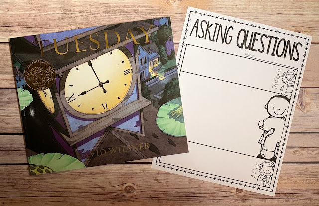 """Mentor Text with text """"Tuesday"""" and Graphic Organizer with text """"Asking Questions"""""""