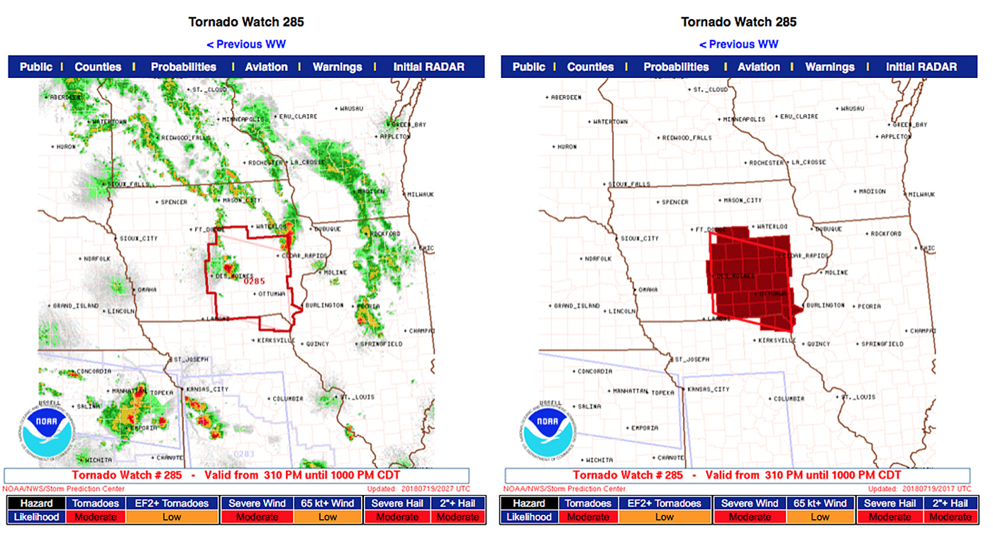 so surprise was raised when at 3 10 pm cdt tornado watch 285 was posted for central east central iowa