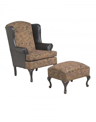 leather and paisley brown chair and ottoman