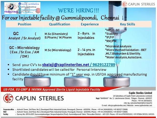 Caplin Steriles | Hiring for QC & Microbiology at Chennai | Send CV | Pharma Jobs