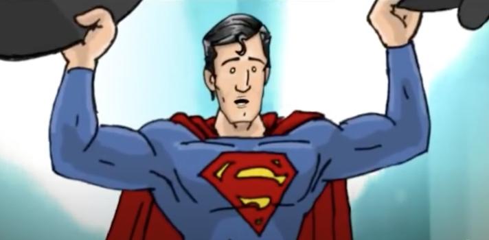 cartoon drawing of Superman