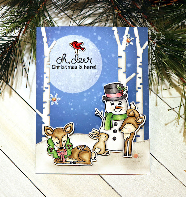 Oh, Deer Christmas is here Card by Larissa Heskett for Newton's Nook Designs using Festive Fawns, Forest Scene Builders and Land Borders Die Set  #newtonsnook #festivefawns #christmascards