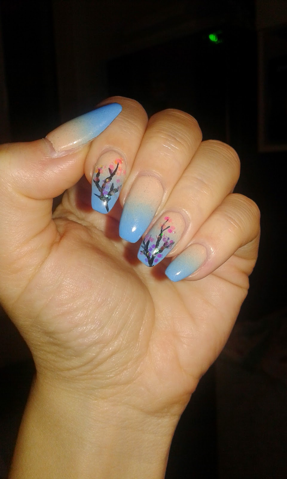 beauty, blue ombre nails, cherry blossom nails, diy nails, gel nails, nail art, nail design, nails, ombre nails