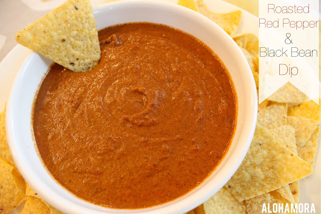 Skinny Roasted Red Pepper and Black Bean Dip.  This dip has been made skinny using cottage cheese instead of cream cheese.  This gluten free dip has flavor and a kick everyone enjoys.  Not too spicy for kids, but great flavor for a potluck, game, or just a night with dip.  Alohamora Open a Book gluten free, gf, healthy, healthier, diet friendly, dip vegetables in