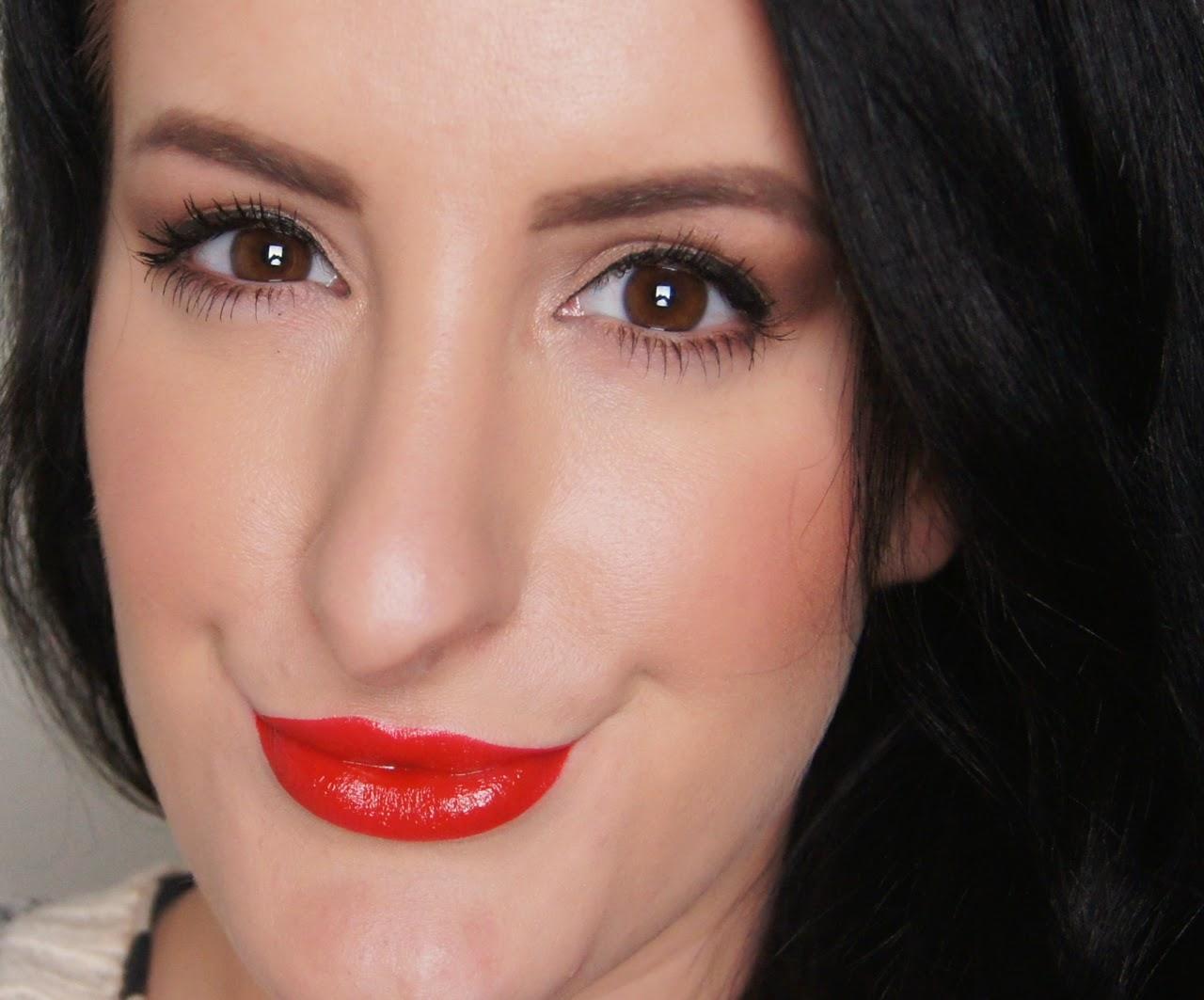 valentine's makeup look red lip rimmel apocalips big bang swatch
