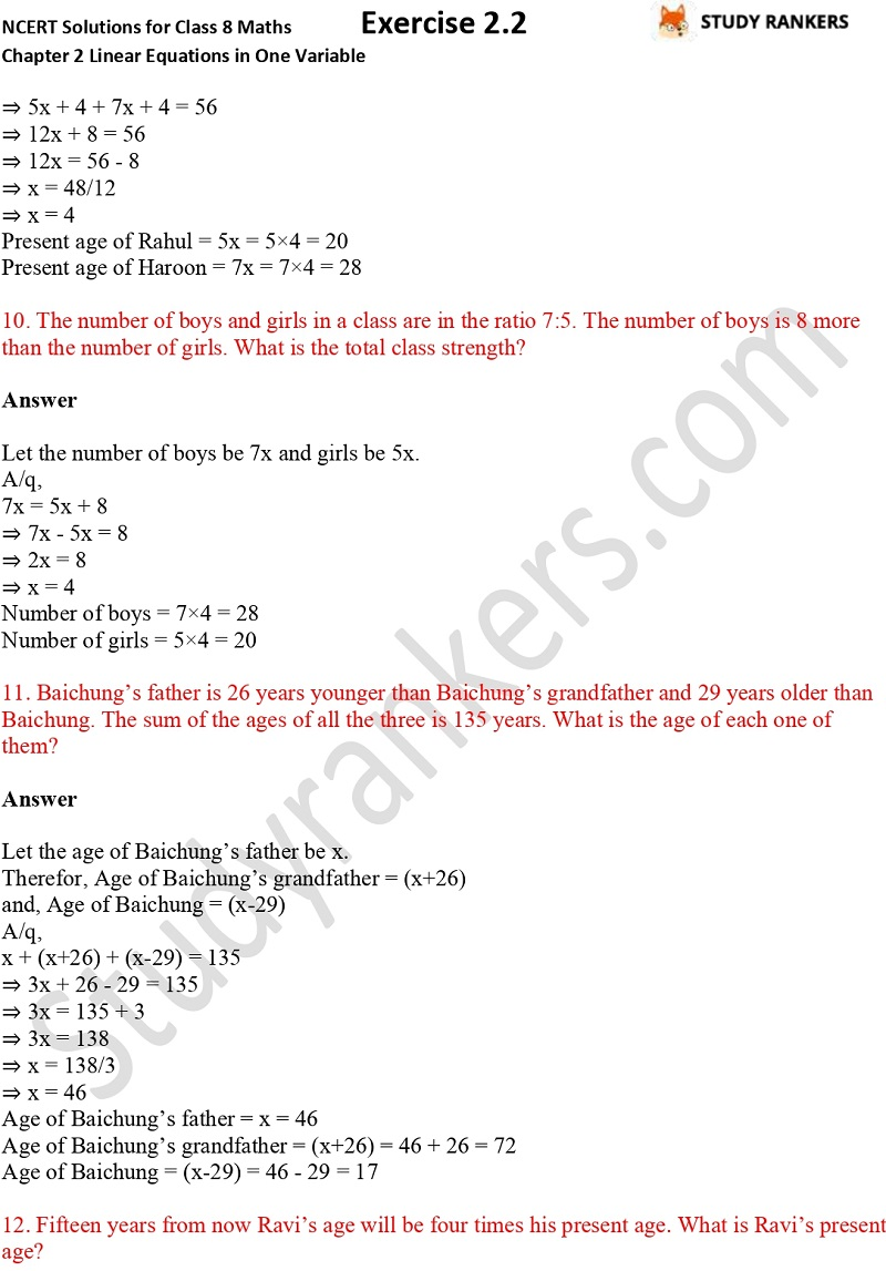 NCERT Solutions for Class 8 Maths Chapter 2 Linear Equations in One Variable Exercise 2.2 Part 4