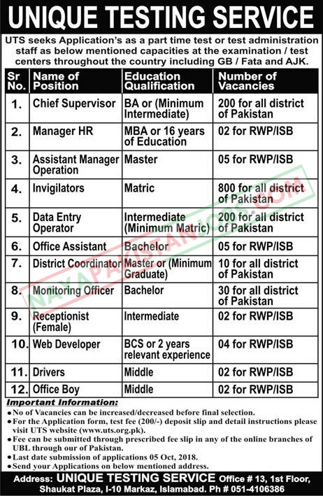 Latest Vacancies Announced in Unique Testing Service Islamabad 30 September 2018 - Naya Pak Jobs