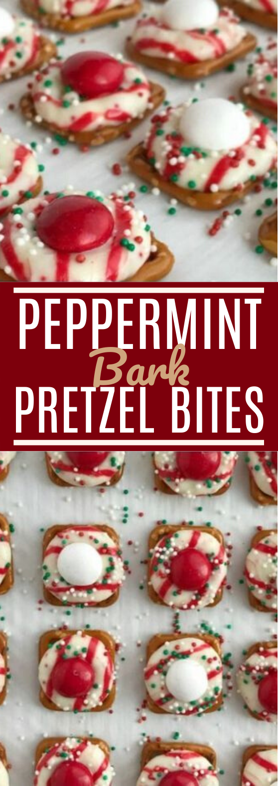 Peppermint Bark Pretzel Bites #desserts #recipes #candy #christmas #cookies