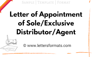 letter of appointment of sole distributor
