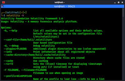 volatility help menu on Kali Linux