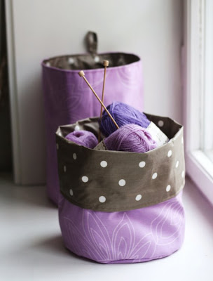 knitting basket, purple