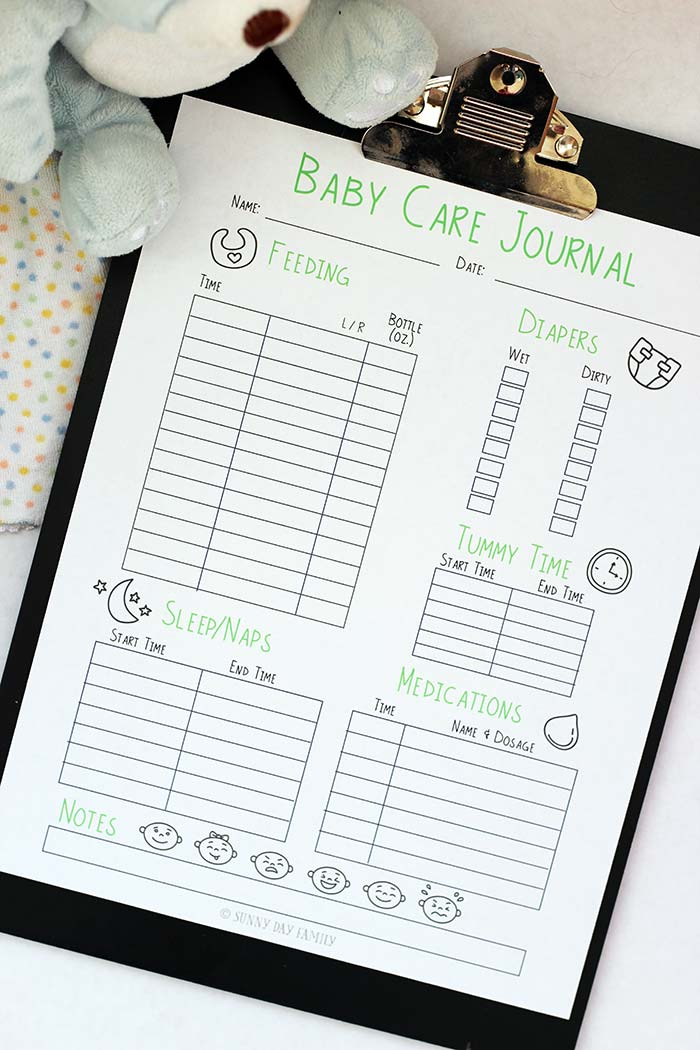 picture relating to Baby Daily Log Printable named Cost-free Printable Little one Treatment Log Sunny Working day Family members