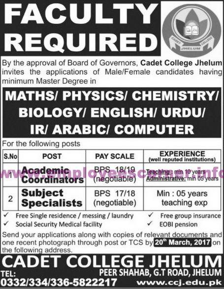 Latest Jobs in different Cadet Colleges in Punjab in different Subjects, cadet college job, cadet college jhelum jobs,