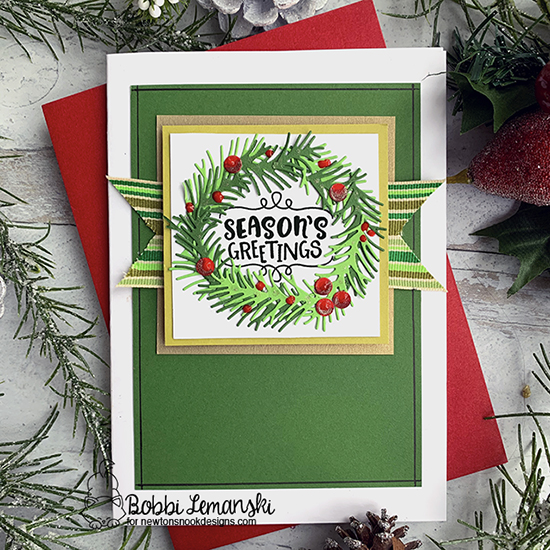 Season's Greetings by Bobbi features Pines & Holly and Ornamental Wishes by Newton's Nook Designs; #newtonsnook