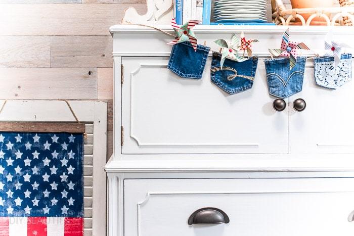 white dresser with patriotic decor