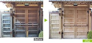 展示予定の環境対応型特殊洗浄G-Eco工法数寄屋門施工例
