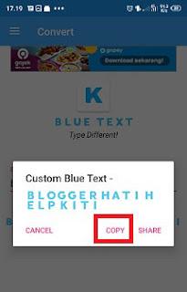 cara membuat tulisan di bio instagram dengan font warna biru