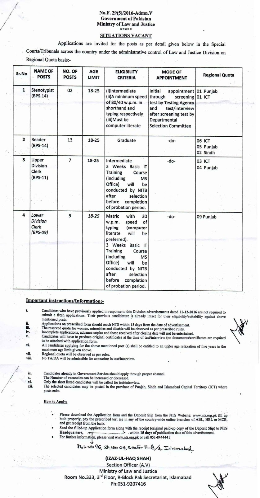 Law and Justice Division Punjab Jobs