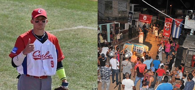 Cederistas cienfuegueros, vecinos de César Prieto, aplauden la fuga del pelotero y festejan en la barriada de Junco Sur, donde el atleta vivía