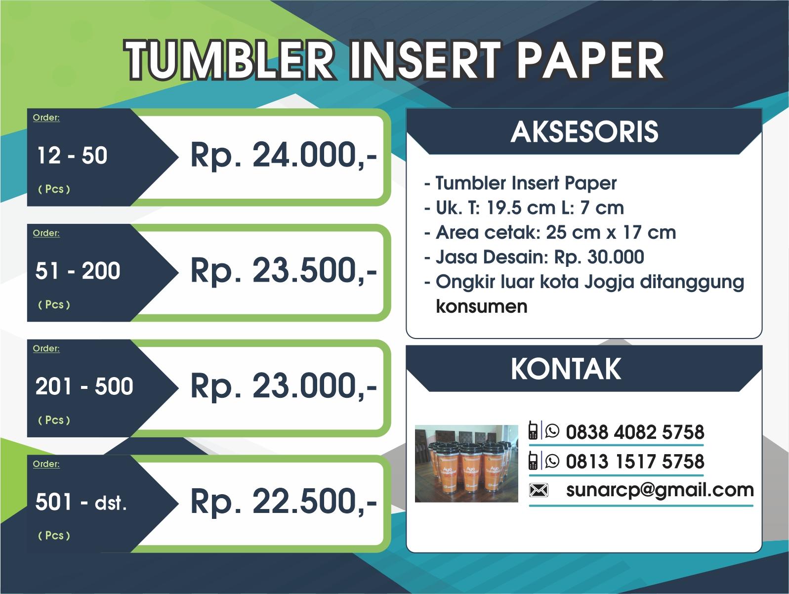 tumbler promosi murah, tumbler insert paper, bikin tumbler murah