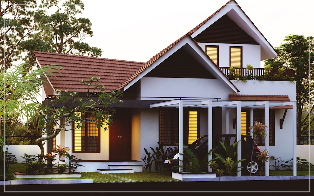 Kerala Traditional style Single storey residence 1800 sq ft