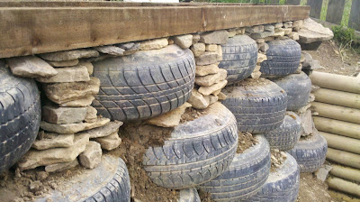 Earthship Construction Tyre Wall in Hindi