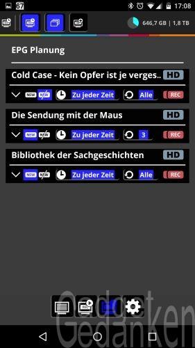 DVBLink Server in der Android App Übersicht der programmierten Aufnahmen