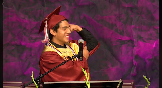 Valedictorian Kevin Garza shows his mental and physical muscles as he gives heartfelt speech at Liberty-Eylau High School 2019 graduation