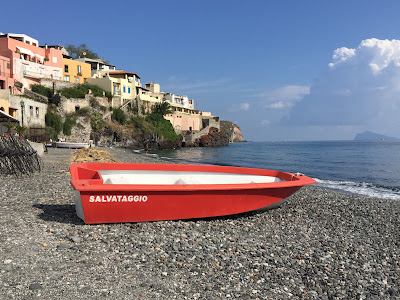 Rescue boat at Coral Beach, Island of Lipari.