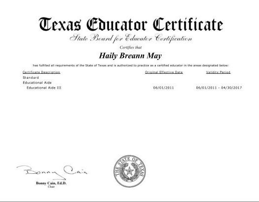 texas certification teacher becker jr grades cert slideshare