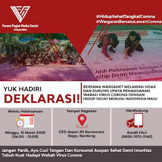 Kerjasama FPMSI Bersama Warganet Bandung Melawan Hoax Dan Kampanyekan Pola Hidup Sehat Guna Dukung Upaya Penanganan Wabah Corona