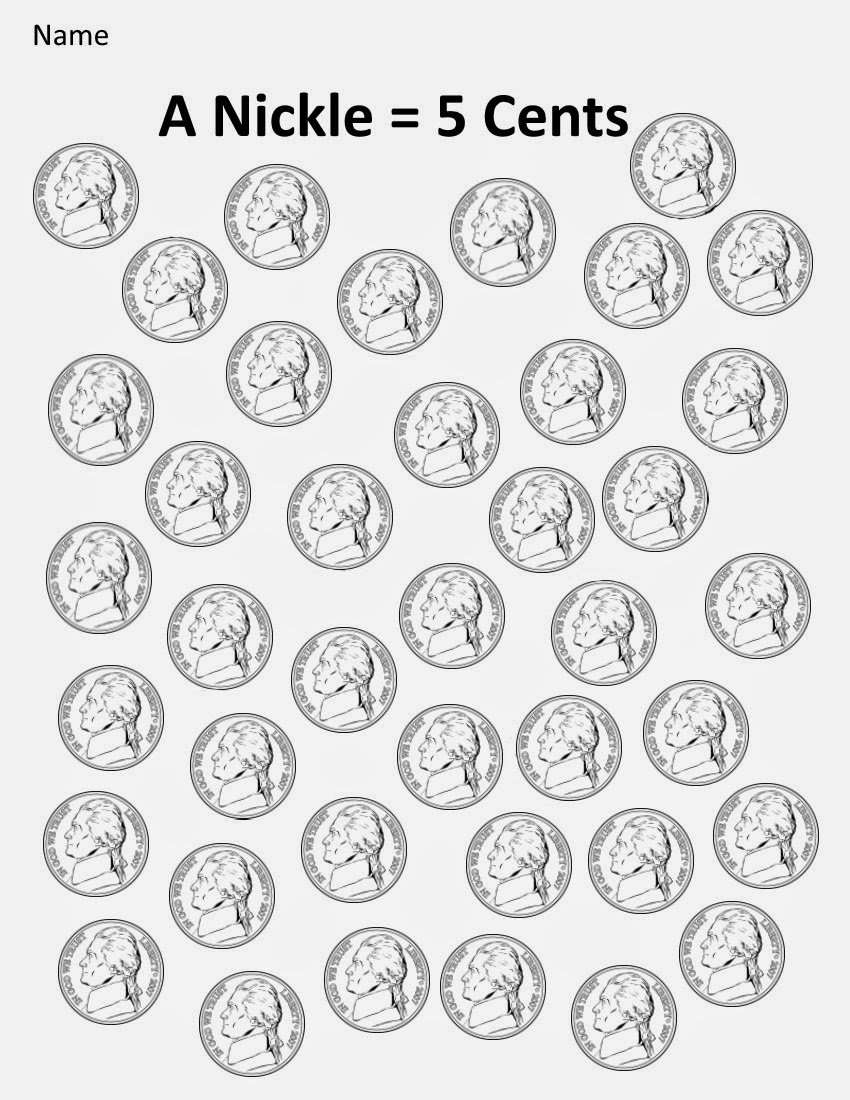 Kindergarten and Mooneyisms: Coins, Part Two: A Nickel = 5