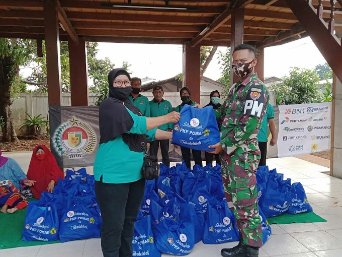 Peringati HUT ke 74, POM TNI AD dan PKP Pomad Bagikan 1.200 Sembako Kepada Purnawirawan Pomad