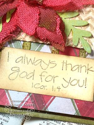 Sara Emily Barker https://sarascloset1.blogspot.com/2020/11/i-always-thank-god-for-you.html #timholtz #sizzix #catherdralwindow #knitted3Dembossing #elegant poinsettia Mixed Media Card 5
