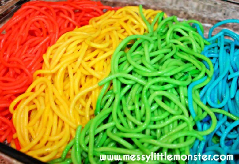 rainbow spaghetti recipe - sensory play recipes for kids